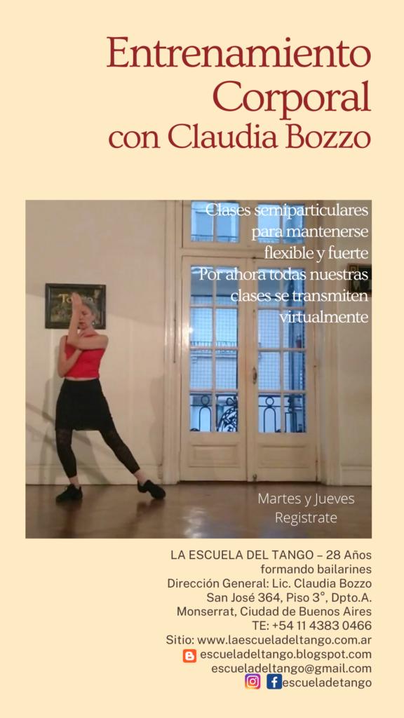 Entrenamiento Corporal a distancia para todos -Claudia Bozzo bailando - Las clases son conducidas con la voz de la maestra